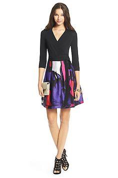 DVF Jewel Silk Combo Pleated Wrap Dress in in Black/ Poppy Leopard Placement Pink