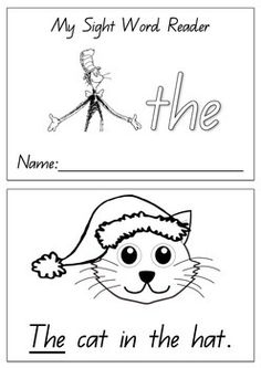 """Dr Seuss Themed Sight Word Reader linked to the Dr Suess book - """"Cat in the hat"""". This reader focuses on one sight word - the Each reader offers repetitive and predictable text with picture cues to assist children in developing early reading strategies."""