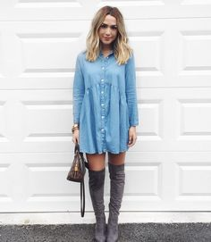I wanted to show you guys a few different ways that I like to style my OTK boots! This denim dress is so easy to throw on for a casual dinner. Plus it's 15% off right now! I love it with lace up flats or little booties for a day time look. To get #ootd details just sign up at @liketoknow.it and 'like' this photo or type in this url into your browser www.liketk.it/1UMH8 if you guys have been thinking about getting OTK boots these ones are amazing and under $200! #liketkit #ltkunder100 by…