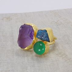 Green Onyx Ring, Handmade Ring, Raw Amethyst Ring, 22k Gold Vermeil Ring, Apatite Ring, Rough Stone Ring, Bezel Set Ring, Statement Ring Add the ocean to your wardrobe with this Green Onyx, Apatite and Amethyst studded 22K yellow gold vermeil ring, that are brought together in a base of