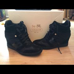 "Coach ""Alara"" in black Black hidden wedge sneaker with black almost invisible monogram. Coach Shoes Wedges"