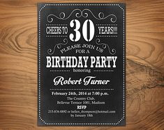 Chalkboard Adult Birthday Party Invitation 30th by PartyPopInvites  https://www.birthdays.durban