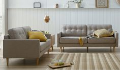 The London 3 and 2 seater suite in linen is a modern take on an English classic. Sofa Suites, Furniture Store, Lounge Suites, Sofa, Furniture, Lounge, Value Furniture, Lounge Room, Retro Couch