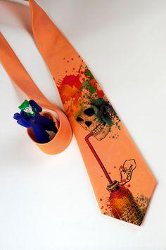 Mens skull necktie Orange Poison  orange necktie with by tiestory
