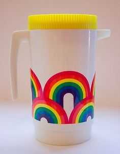 Vintage ALADDIN WARE Hard Plastic PITCHER Ice Tea CONTAINER Rainbow RETRO 1970's in Collectibles, Kitchen & Home, Tableware | eBay