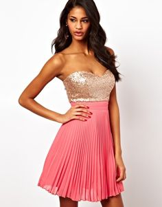 Elise Ryan Sequin Bandeau Dress with Pleated Skirt. Can't go wrong with pink and sparkly.