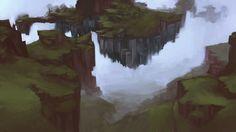 . Minecraft Mountain, Amazing Minecraft, Cool Artwork, Amazing Artwork, City Lights, Art Google, Landscape Art, Digital Illustration, Photoshop