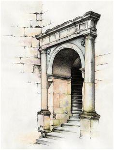 Architecture Drawing Sketchbooks, Watercolor Architecture, Architecture Art, Architecture Portfolio, Fine Art Drawing, Ink In Water, Arte Sketchbook, Pencil Art Drawings, Urban Sketching