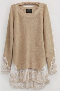 add Lace to Sweaters. I AM going to do this to a sweater.add Lace to Sweaters. I AM going to do this to a sweater. With the most beautiful lace. Diy Fashion, Womens Fashion, Street Fashion, Fashion Ideas, Fashion Sewing, Fashion Tips, Fashion Trends, Lace Knitting, Knit Lace