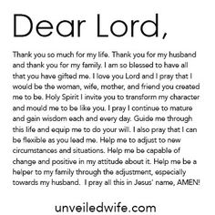 A prayer that I need daily while adjusting to living together and being married! Prayer For Wife, Prayer For The Day, Power Of Prayer, I Love You Lord, The Lord Is Good, Dear Lord, Relationship Prayer, Letters To God, Encouragement For Today