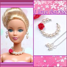 doll accessories handmade-barbie-doll-jewelry-set-necklace-earrings-for-barbie-dolls Barbie Dolls For Sale, Vintage Barbie Dolls, Barbie And Ken, Barbie Hair, Barbie Dress, Barbie Clothes, Barbie Stuff, Diy Jewelry Set, Handmade Jewelry