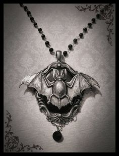 Gothic Necklace Goth Bat Cameo Neo-Victorian Romantic Antique Silver and Black Cameo with Silver Jewelry