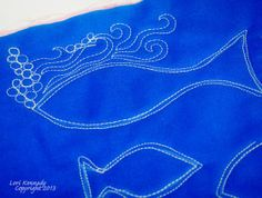 Free Motion Quilting, Fish- for my aqua man's quilt