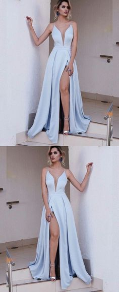 Light Blue Spaghetti Split prom dress new style fashion evening gowns