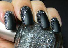 matte black #glitter  #nails