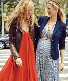 I can do the coral dress + leather jacket combination, although my jacket color is more or less burgundy.   The New Maternity Line Youll Want To Wear Before, During, And Afterward
