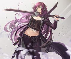 violet by goomrrat on DeviantArt Girls Characters, Fantasy Characters, Female Characters, Anime Characters, Anime Purple Hair, Girl With Purple Hair, Anime Warrior, Warrior Girl, Samurai Female