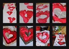 St Valentin family footprints craft.