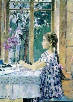 Мыльников . Верочка на веранде 1957.