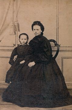 Mother and Daughter in Mourning, Unmarked Albumen Carte de Visite, Circa 1866 by lisby1, via Flickr