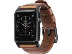 Nomad Leather Strap Modern Marron/Noir - Bracelet en cuir Apple Watch 42 mm - Bracelet Apple Watch NOMAD - MacWay