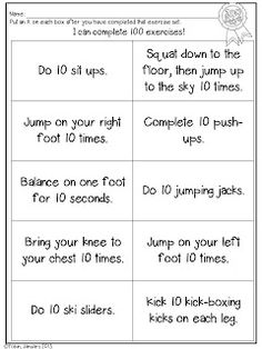 FREEBIE 100th Day exercise activity