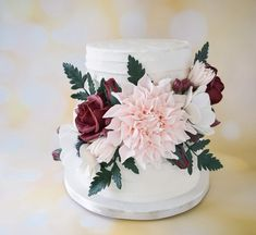 2 Tier Wedding Cakes, Diy Wedding Cake, Wedding Cakes With Flowers, Wedding Flower Arrangements, Wedding Cake Toppers, Cake Flowers, Fall Wedding, Wedding Ideas, Gorgeous Cakes