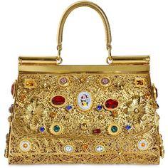 DOLCE & GABBANA Brass Filigree Small Miss Sicily Bag found on Polyvore