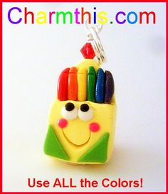 Box of Crayons Polymer Clay Charm by CharmthisClayCharms on Etsy, $3.00