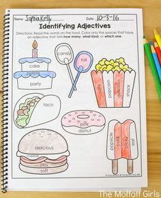Identifying Adjectives- Learning grammar couldn't be more fun with the 2nd Grade Language Arts and Grammar NO PREP Packets, filled with activities to teach nouns, adjectives, capitalization, dictionary skills, sentence structure and so much more!