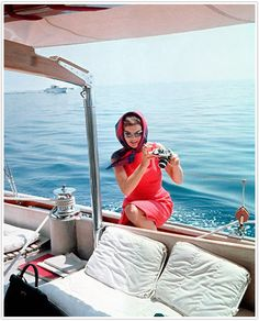 Party inspiration, boat, Audrey Hepburn, summer, red dress, scarf