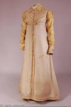 The pelisse was a long coat that had an empire waistline. The coat was most commonly worn by women.