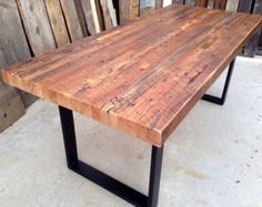 Custom Handmade Rustic Industrial/Modern Reclaimed Wood + Metal/ Steel Dining / Patio / Picnic Table / Restaurant / Commercial Grade – Home Trends 2020 Into The Woods, Reclaimed Wood Dining Table, Wooden Tables, Reclaimed Timber, Outdoor Dining, Outdoor Tables, Indoor Outdoor, Patio Dining, Dining Room
