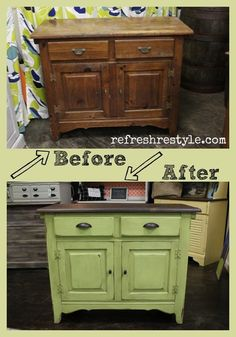 Trash to treasure makeover - saved from the landfill. Refreshed with paint and stain. Easy DIY furniture makeover at refreshrestyle.com