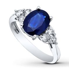 Oval Sapphire Ring 3/8 ct tw Diamonds 14K White Gold