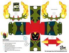 Free Ben 10 Swampfire Printable papercraft toy