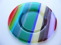 Funky Fused Glass - Plates Use strips of scrap glass!