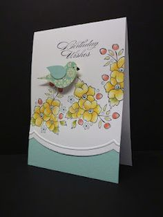 birthday card with two-step bird and lovely posies ... Stampin' Up!