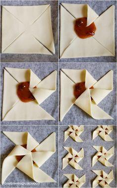 Girandole di pasta sfoglia con cuore di marmellata - tutorial