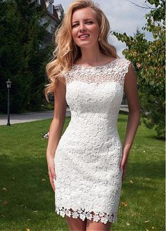 Chic Lace Bateau Neckline 2 In 1 Wedding Dress