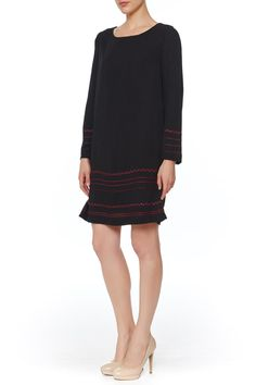Embroidered stripes add a pop of color to this BB Dakota dress. A tasseled, lace-up closure accents the back. Bracelet-length sleeves. Lined.   Kassel Embroidered Dress  by BB Dakota. Clothing - Dresses - Long Sleeve Clothing - Dresses - Work Manhattan, New York City