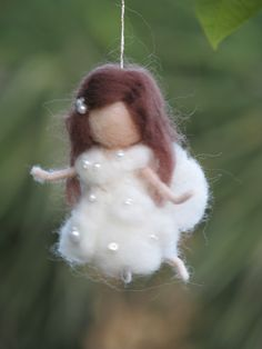 Needle felted fairy Christmas ornament home decor. $26.00, via Etsy.