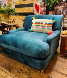 Im not saying this chair is comfy but I sat in it to check and woke up 45 minutes later. So if you want your home to look vibrant and funky with this peacock blue velvet chair and have your bottom caressed by clouds and cherubs this is the chair for you. 340 other colours available to order. #chair #comfy #lounge #vibrant #funky #colne Blue Velvet Chairs, Wake Up, Armchair, Vibrant, Lounge, Comfy, Colours, Cherubs, Peacock Blue