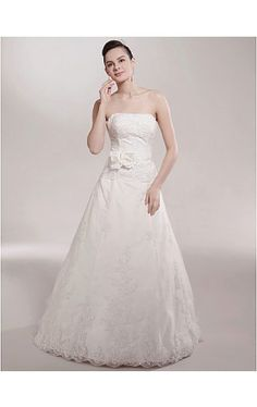 A-line Strapless Court Train Sleeveless Satin Wedding Dress