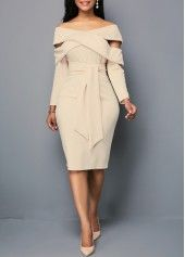 Zipper Back Off the Shoulder Belted Sheath Dress. fashion dress party dress formal dress pretty dress off the shoulder dresses women fashion fall fashion fall outfit sheath dress long sleeve dress. Belted Dress, Lace Dress, Bodycon Dress, Khaki Dress, Hot Dress, Peplum, Blue Dresses, Dresses With Sleeves, Sheath Dresses