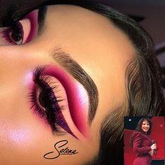"_ DISCLAIMER: i photoshopped ""Selena"" on my face (obviously lol) _ Products used: @glitterrealmco ""Enchanted Rose"" & ""Luna Vega"" palette @glitterrealmco Purple glitter (forgot the name"