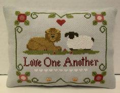 Lion and Lamb Mini Pillow by luvinstitchin4u on Etsy, $15.99