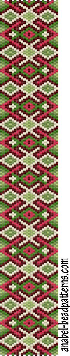 """Схема браслета """"Весенние узоры"""" - Free peyote bracelet pattern"""