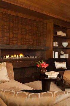 ** Wood fireplace mantel surround
