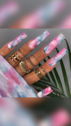 Marble Acrylic Nails, Classy Acrylic Nails, Long Square Acrylic Nails, Bling Acrylic Nails, Summer Acrylic Nails, Best Acrylic Nails, Coffin Nails, Summer Nails, Dope Nail Designs